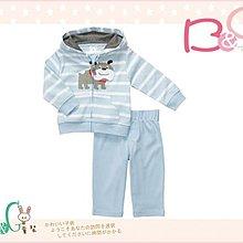 【B& G童裝】正品美國進口Carter's 鬥牛犬粉藍條紋2件一組套裝24M