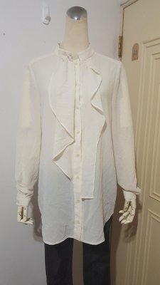 銀穗之Le Polka專櫃杏色前襟飾不對稱荷葉雪紡長版襯衫L號(適M~L)*250元直購價*