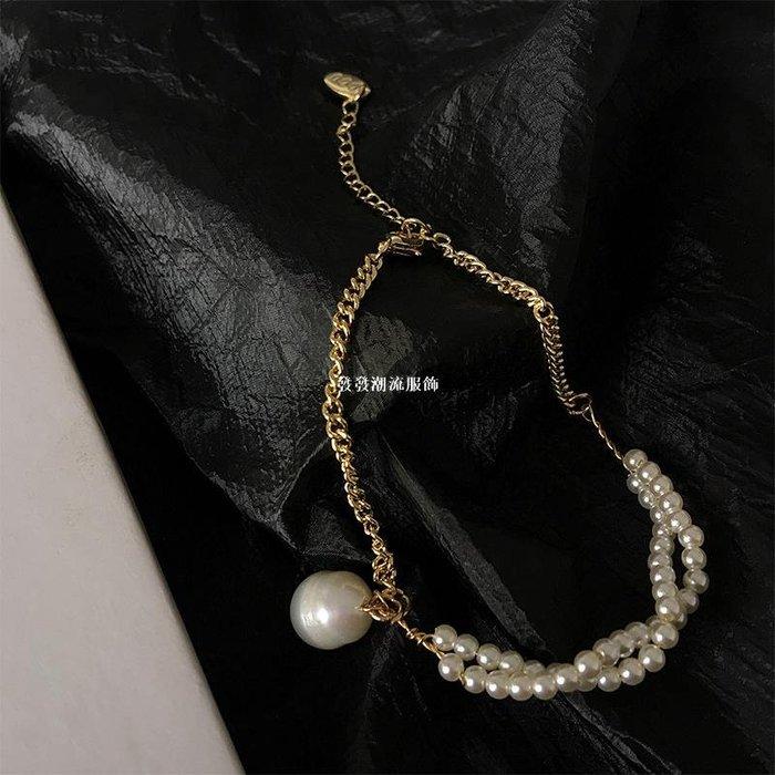 發發潮流服飾DOUDOU STORE 不對稱設計感髮飾珍珠手鍊 復古巴洛克氣質簡約飾品