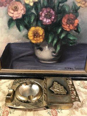 歐洲古物時尚雜貨 老菸盒 浮雕船圖 收納盒 擺飾品 古董收藏
