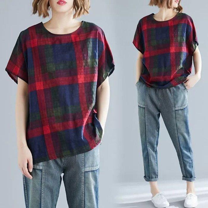 寬鬆格紋棉麻T恤短上衣 中大尺碼