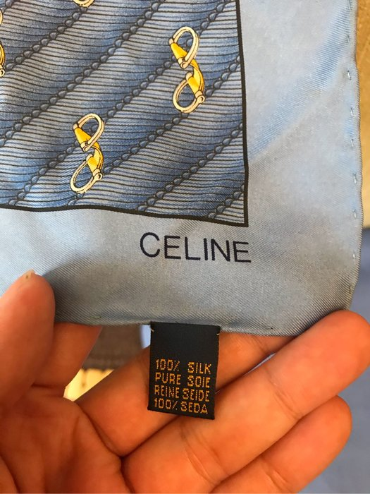 Celine 絲巾100%滿版logo 藍色跟淺藍色