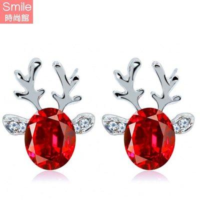 【23A86】SMILE-奢華閃亮.立體聖誕馴鹿水晶寶石鹿角耳環