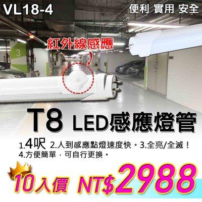 §LED333*團購10入§(33HVL18-4) LED感應燈管 T8燈管 4尺 LED-20W 另有兩尺 高亮度