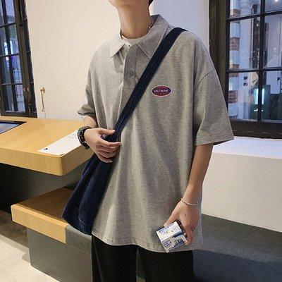 東家style 韓字母徽章短袖POLO衫香港寬松休閒翻領體恤衫