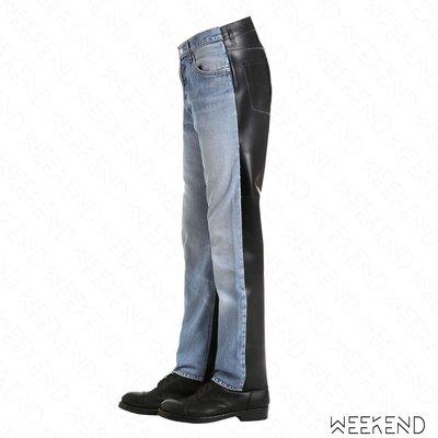 【WEEKEND】 VETEMENTS X LEVI'S Neighbor 聯名 拼接材質 牛仔褲 雙色 黑+藍色 男款