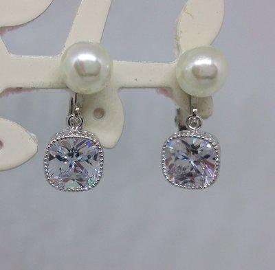 【艾法小舖】珍珠方形閃鑽無耳洞耳夾螺旋耳夾夾式耳環(手作款)