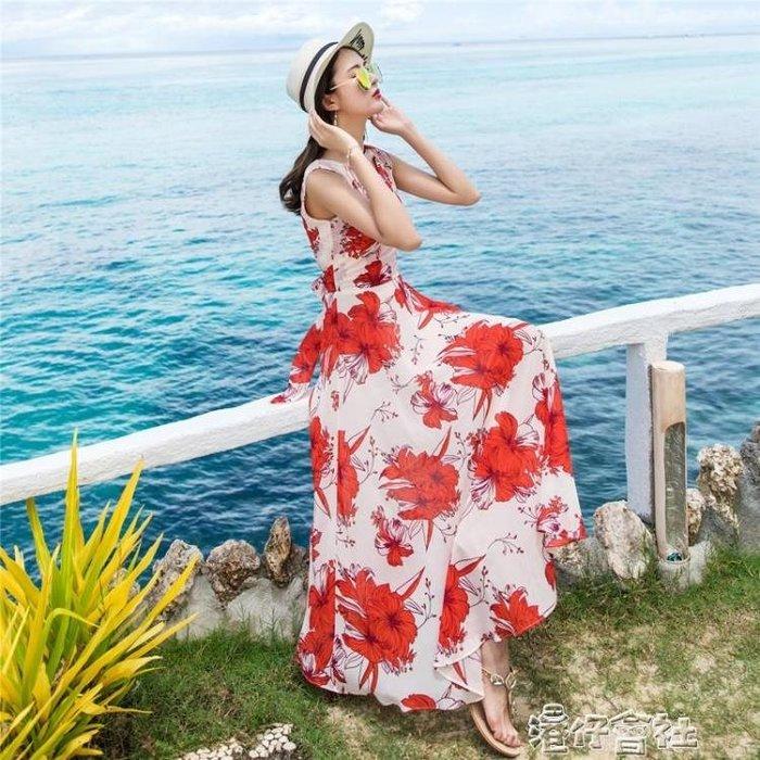 波西米亞長裙印花大擺沙灘裙女大碼顯瘦背心連身裙