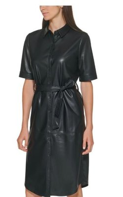 Calvin Klein Belted Faux-Leather Shirtdress 10/24止