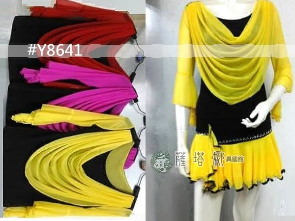 @~薩瓦拉 : 多色_M/L/XL_Y8537(原Y8641)_黑配色前垂領網紗七分水袖網紗上衣