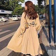 Maisobo 韓國 KOREA 初秋款~後百摺設計感長款風衣外套 2色 預購 S~XL