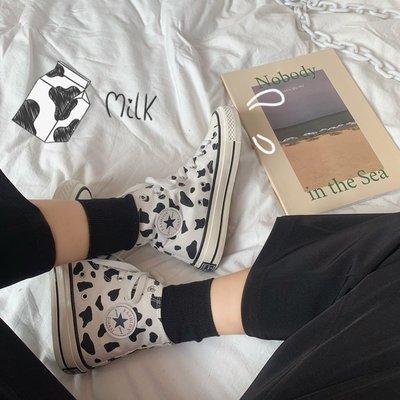 小尤家~牛奶高幫帆布鞋女學生韓版新款春季百搭ins休閑復古港味板鞋