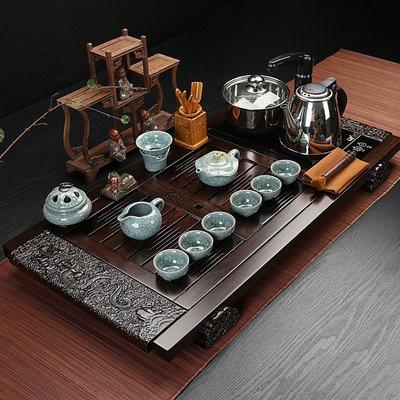 哥窯茶具套裝四合一電磁爐實木茶盤自動抽水茶具整套M1042