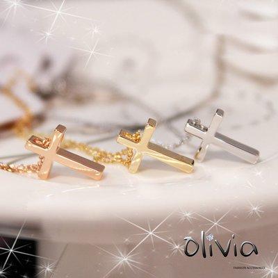 鎖骨項鍊 簡約十字架造型厚鍍18K真金鎖骨項鍊【E09679】Olivia  Fashion 基本經典  熱銷款式