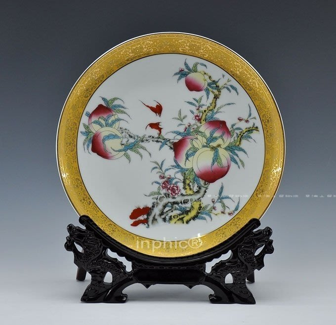 INPHIC-裝飾盤擺飾 賀壽 大壽 陶瓷工藝品 家居裝飾品 壽桃