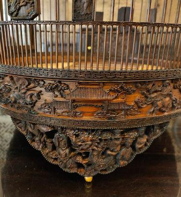 鳳崗文創---{竹雕35}---竹雕----八仙過海----太子籠---含提把尺寸約:40x 40 x 85 cm