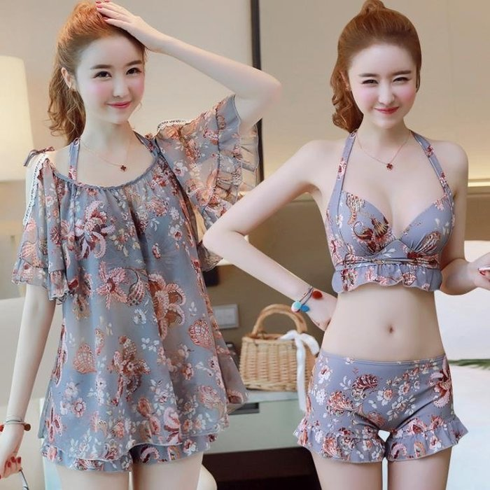 泳衣女三件套韓國溫泉小香風比基尼保守遮肚小胸聚攏分體大碼泳衣 免運