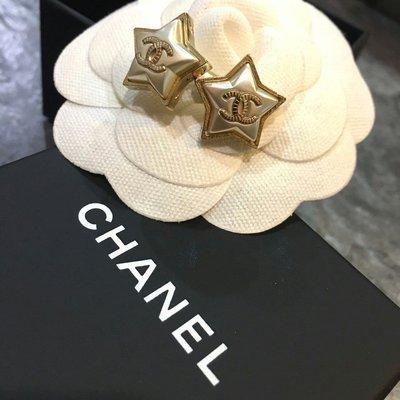 Chanel 香奈兒金色logo星星針式耳環