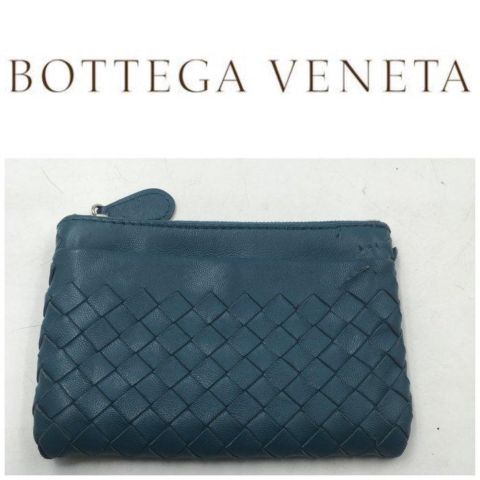 【皮老闆二店】二手真品 Bottega Veneta 錢包 皮夾 零錢包 卡夾  藍313