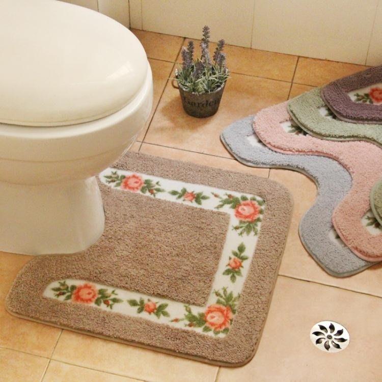 浴室吸水地墊防滑防水U型馬桶腳墊衛生間廁所洗手間門墊地毯