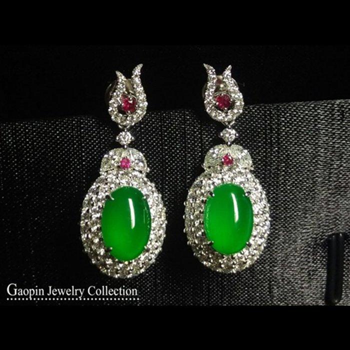 【高品珠寶】放光玻璃種老坑滿色陽綠18K金鑽石旦面耳環《綠光》緬甸天然A貨翡翠♥精品現貨♥
