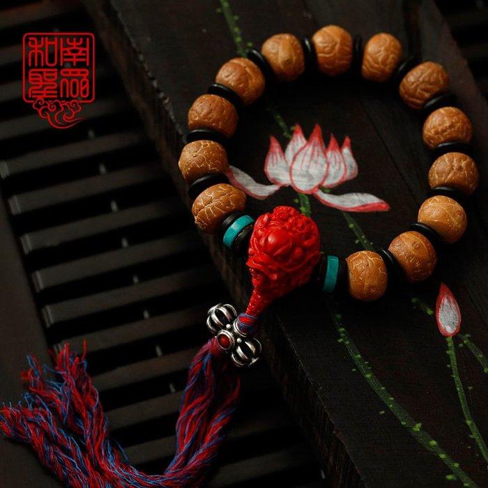宏美飾品館~和南圣眾天然藏式鳳眼菩提手串紅皮鳳眼菩提子配朱砂佛珠男款手鍊