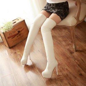 性感夜店過膝高防水台時尚超高跟過膝細跟長靴-黑/白/咖(34-43)【401898625363】