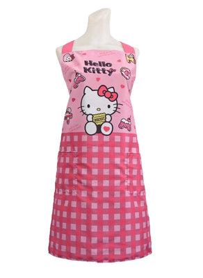 【卡漫迷】 Hello Kitty 圍裙 粉格點心 ㊣版 雙口袋 廚房 工作裙 烘焙課 烹飪課 做點心 凱蒂貓 台灣製