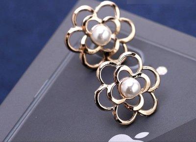 (老銀屋)設計款小香風精美花朵造型珍珠金屬別針/防走光扣