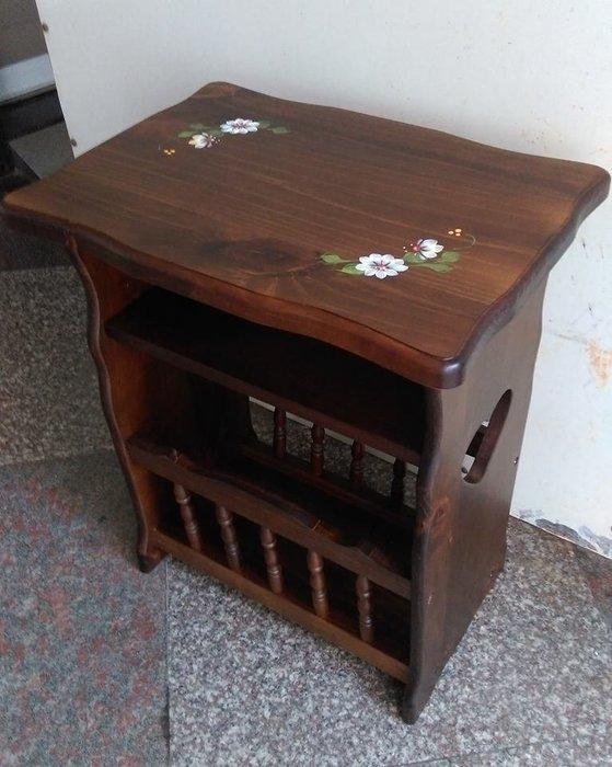簡約全實木彩繪架花架置物架簡易木架書櫃儲物架茶几