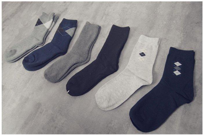 Myplace.com 紳士素面 / 單雙菱格【長襪】厚