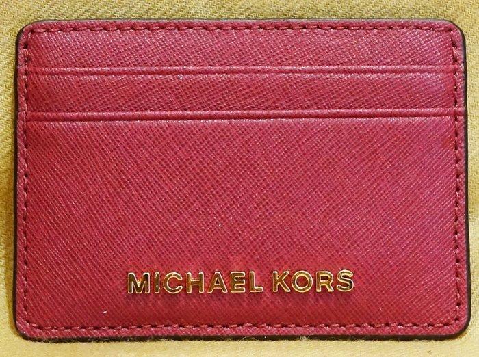 大降價!全新 Michael Kors MK 櫻桃紅色牛皮皮革高質感信用卡夾名片夾萬用夾,低價起標無底價!本商品免運費!