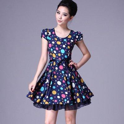 【現貨賠本大拍賣】☆°大尺寸A868藍色夏季新品流行時尚款女裝圓點天絲連衣裙 XL可自取賠本出清換現金