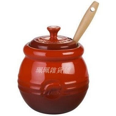 【珮珮雜貨舖】全新《LE CREUSET》陶瓷BBQ烤肉醬罐 附矽膠油刷 櫻桃紅