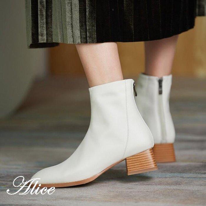 『Alice❤愛麗絲』秋冬款真皮女靴子尖頭中跟短靴小跟後拉鍊單靴黑色粗跟皮鞋女