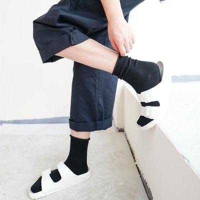 HENNY RUE 精梳棉厚實卷邊堆堆女襪韓版純色豎條紋全棉中筒女襪