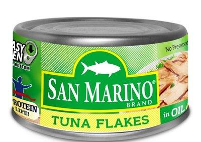 菲律賓SAN MARINO TUNA FLAKES IN OIL 鮪魚片/1瓶/180g