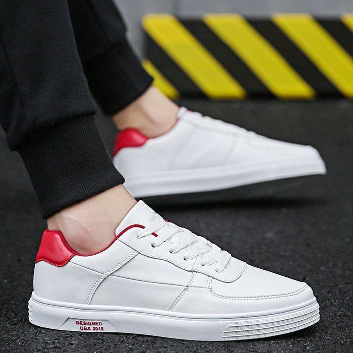 時尚男鞋春季新款板鞋男學生皮面小白鞋韓版男士休閑鞋防滑男鞋子