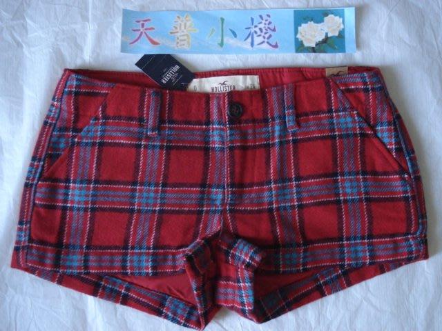 【天普小棧】HOLLISTER HCO羊毛格子短褲 格紋短褲 休閒短褲 紅色格紋0/W24