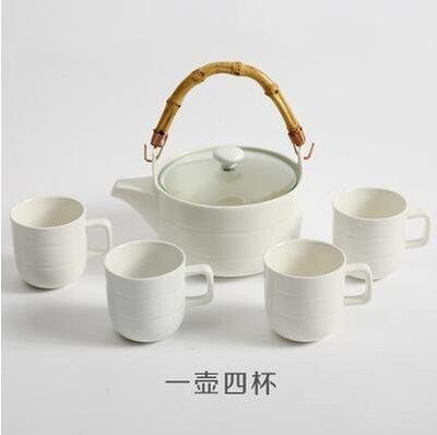 【優上】日式竹柄茶壺 花草茶具 水杯 陶瓷茶具 水壺杯「平行紋一壺四杯」