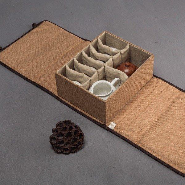 5Cgo【茗道】含稅會員有優惠 520308735716 茶具收納包茶杯泡茶壺整理袋旅行攜帶包快客杯麻布包防震袋