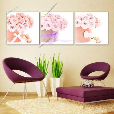 【30*30cm】【厚2.5cm】粉色愛情玫瑰-無框畫裝飾畫版畫客廳簡約家居餐廳臥室【280101_376】(1套價格)