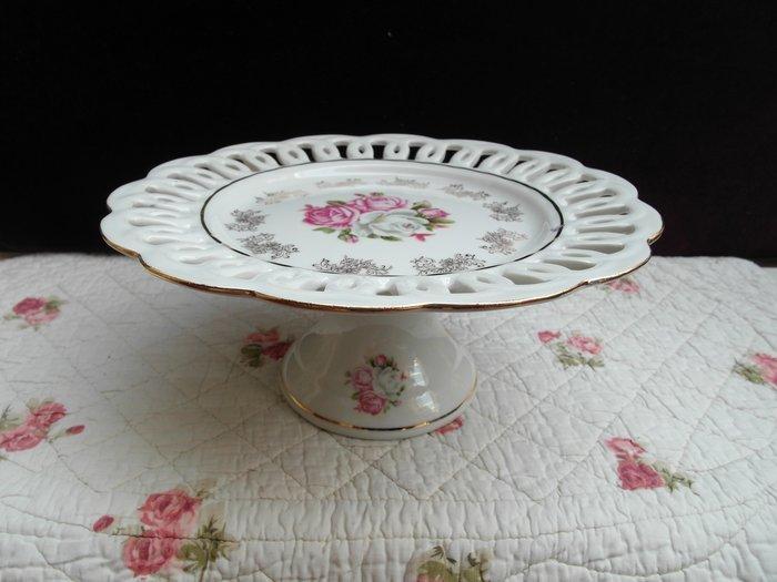 浪漫滿屋 印花款歐式時尚印花灰邊陶瓷水果盤點心盤零食盤高腳盤甜品盤沙拉盤