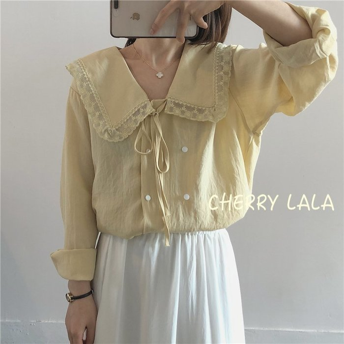 CHERRY LALA 韓。實拍。19夏。薄款娃娃領棉麻休閒長袖防曬襯衫-黃/白  MU04153