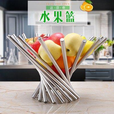 時尚創意不銹鋼果盤達芬奇水果籃簡約歐式客廳水果籃家居飾品花籃