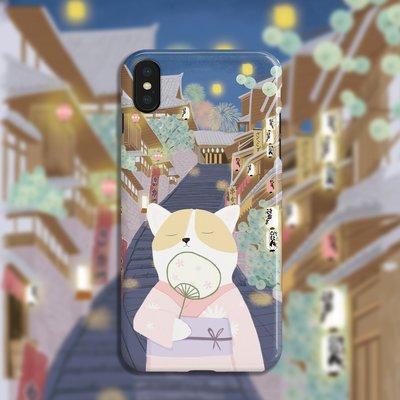 心滿意殼【含運】原野趣原創夜晚貓咪手機殼IPHONE XS MAX78PLUS華為OPPO VIVO軟殼