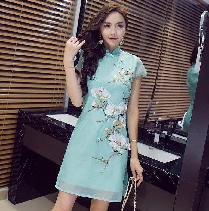 旗袍 中國風女裝  刺繡盤扣 改良旗袍 少女連身裙 —莎芭   新品