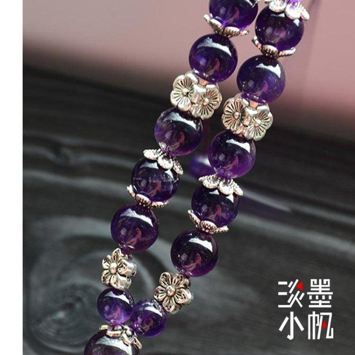 高檔女士玉石平安扣汽車掛件天然紫水晶創意流蘇車內吊飾保平安符  DF