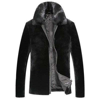皮衣 外套 皮夾克-羊皮皮毛一體水貂毛領羊絨面男外套3款9c32[獨家進口][米蘭精品]