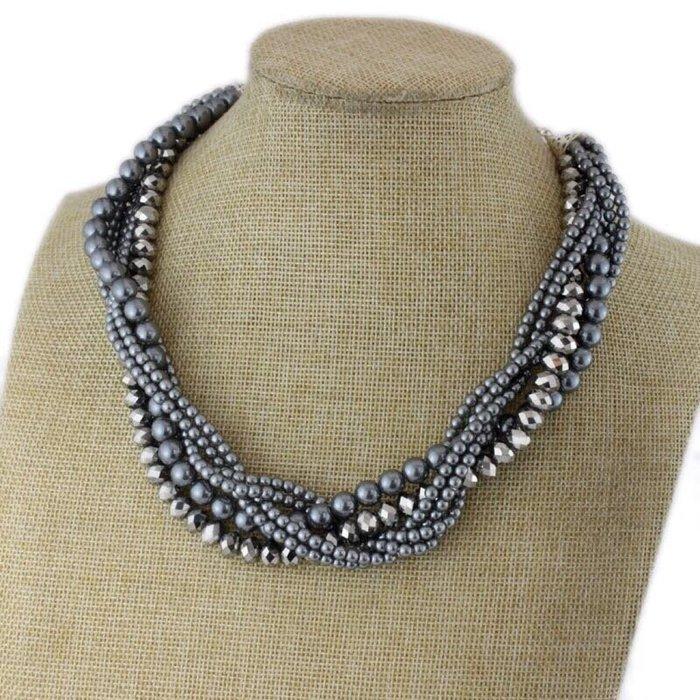 外銷歐美飾品💃新款復古典雅項鍊亮黑玻璃珠宫廷鎖骨鏈灰珍珠頸部裝飾奢華配飾宴會派對飾品批發特價